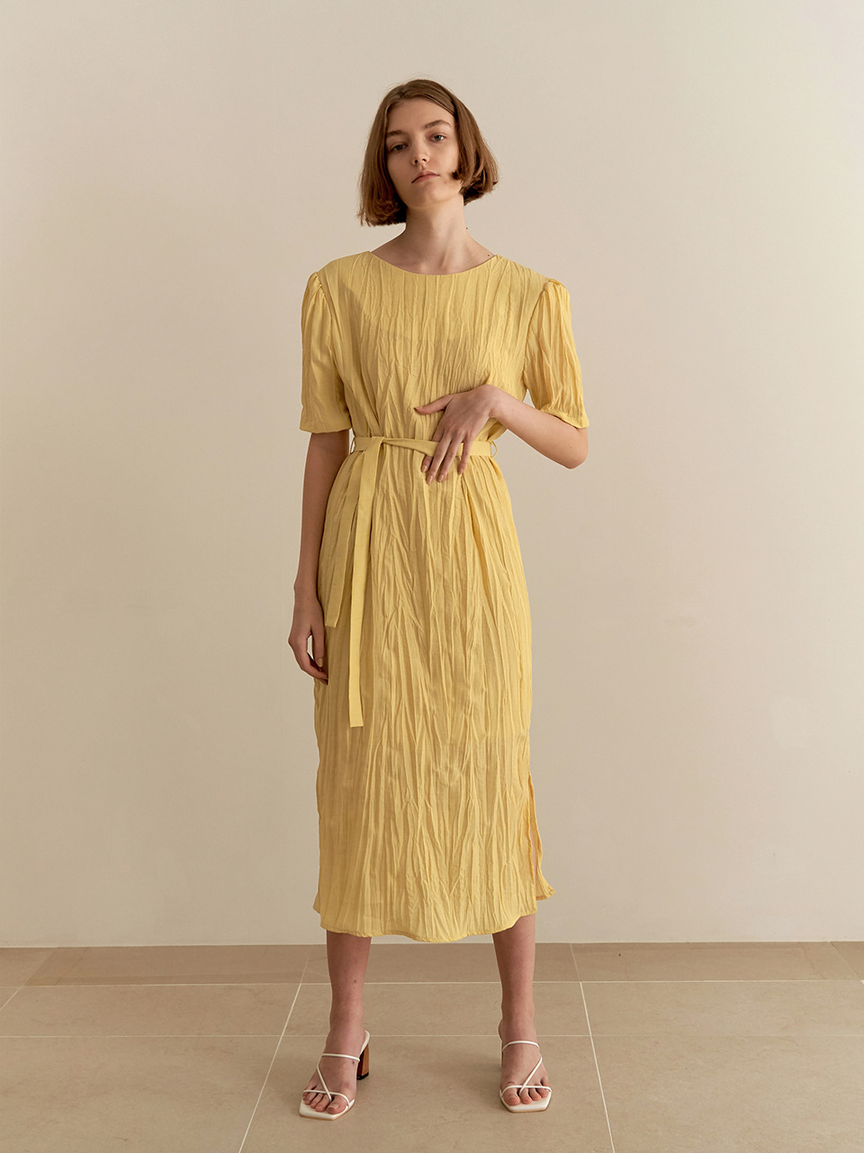 Wrinkle reversible dress - yellow
