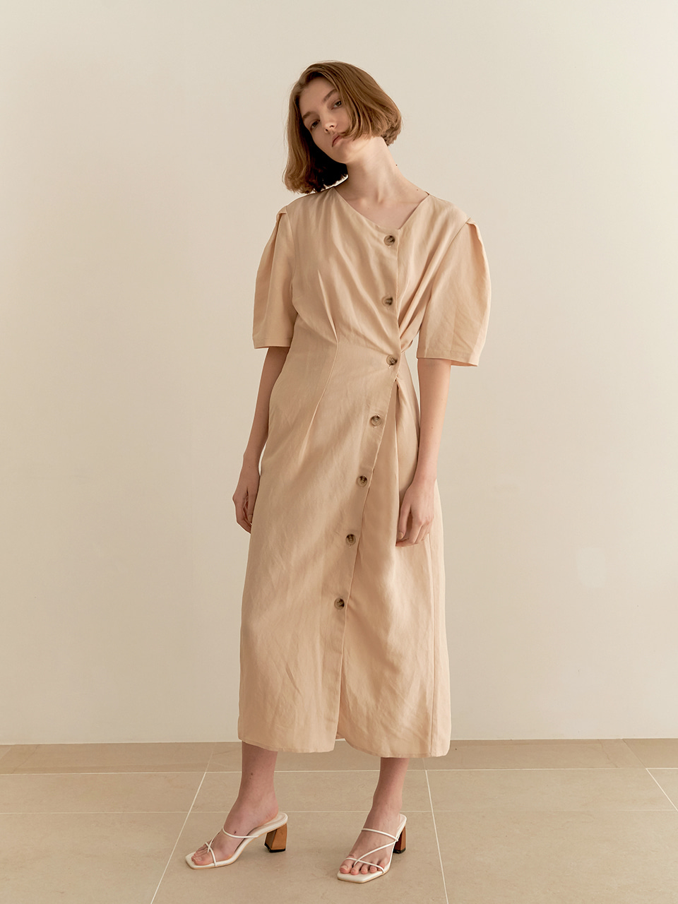 Twist Linen Dress-beige