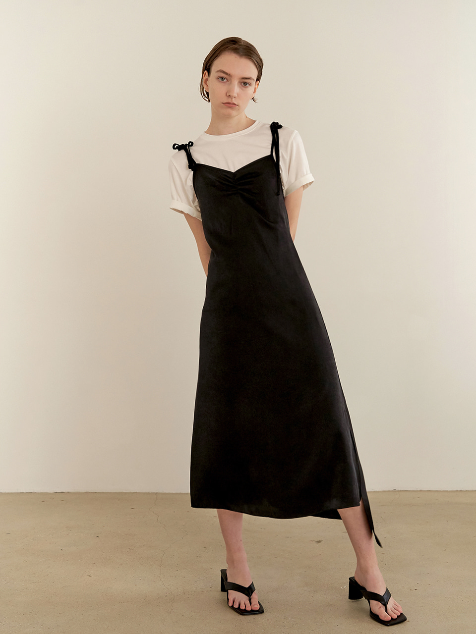 Shirring slip dress-black
