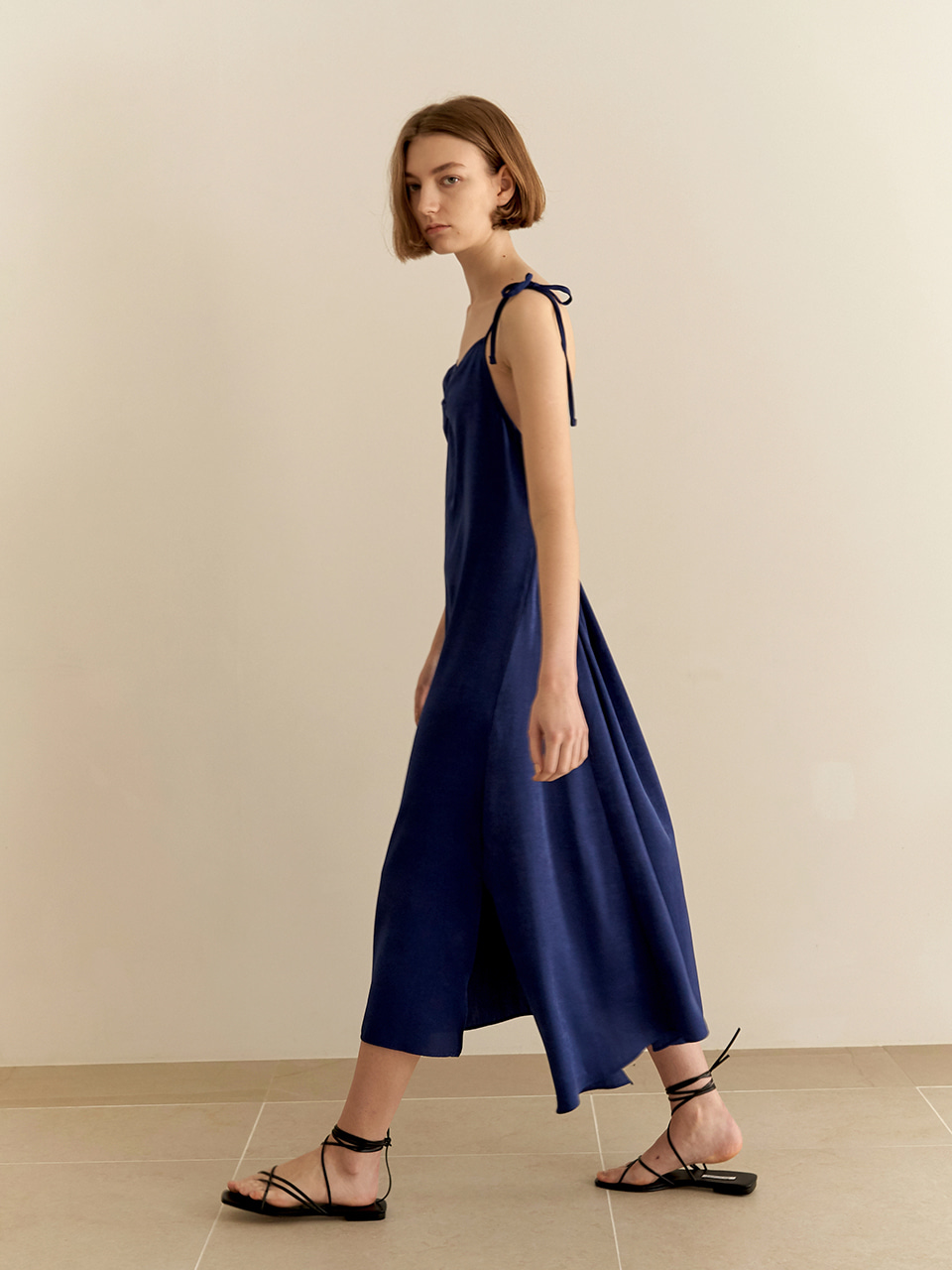 Shirring slip dress-blue