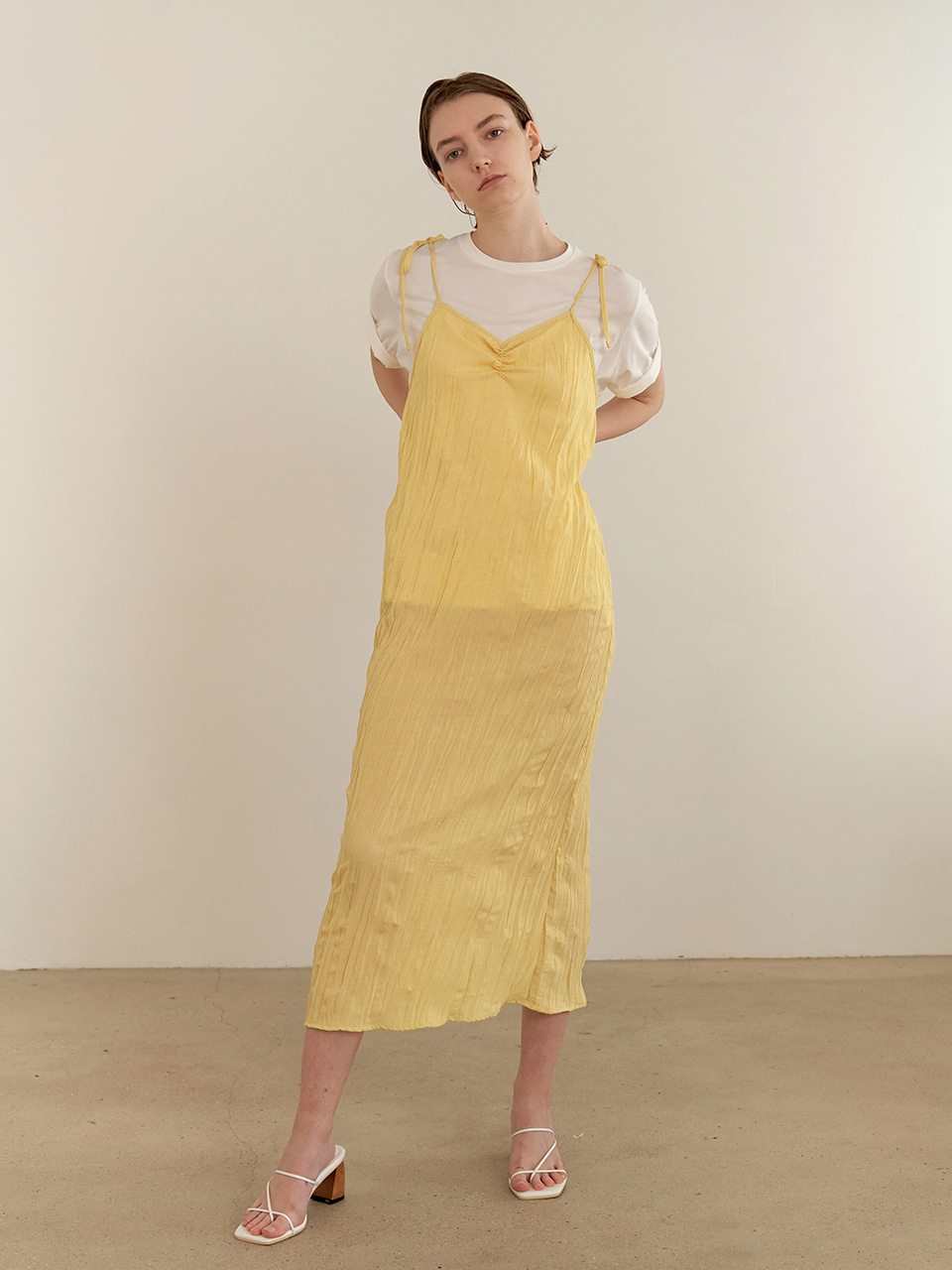 Resort wrinkle dress - yellow [5/22예약배송]