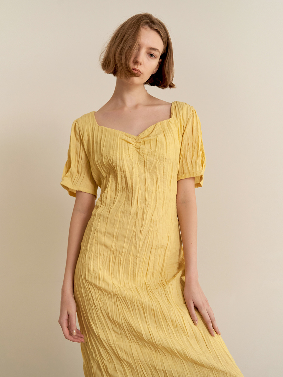 Halfmoon shirring dress - yellow [5/28예약배송]
