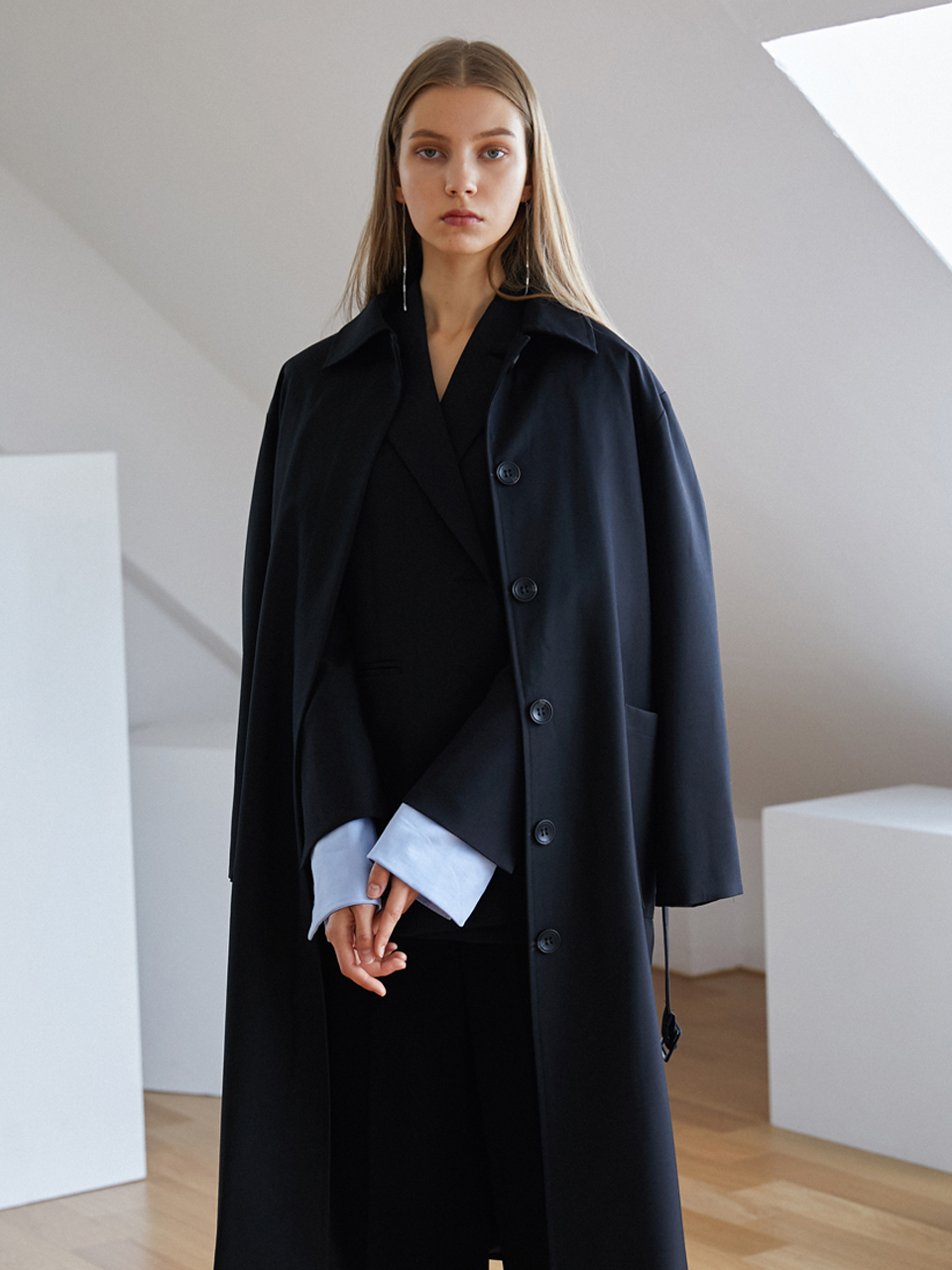[18AW] Twoway trench coat - Black