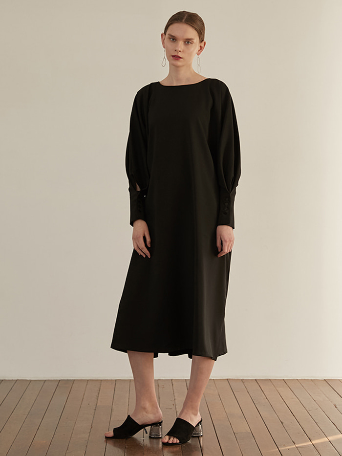 Twoway Button Dress - Black