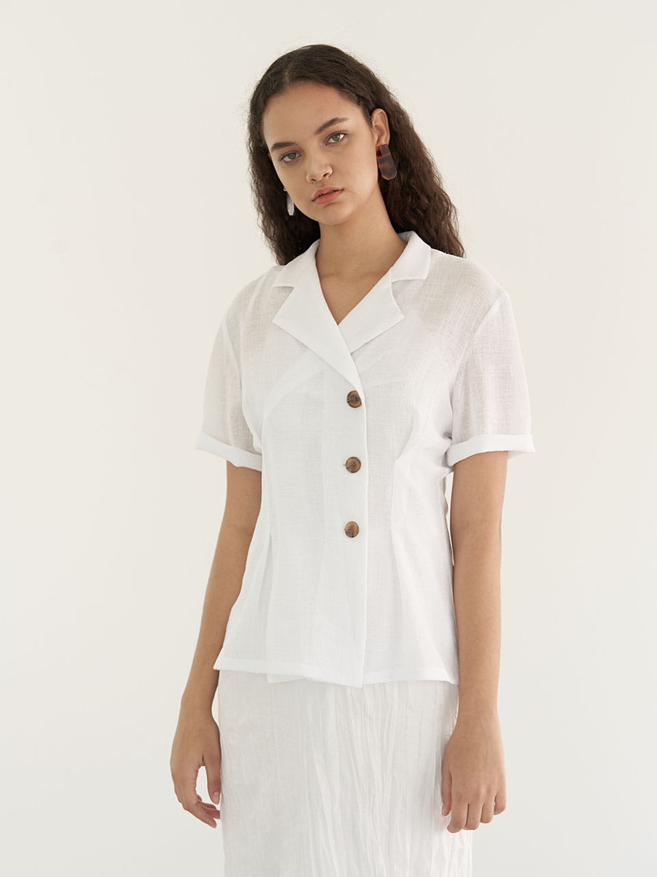 Double Button Blouse - White