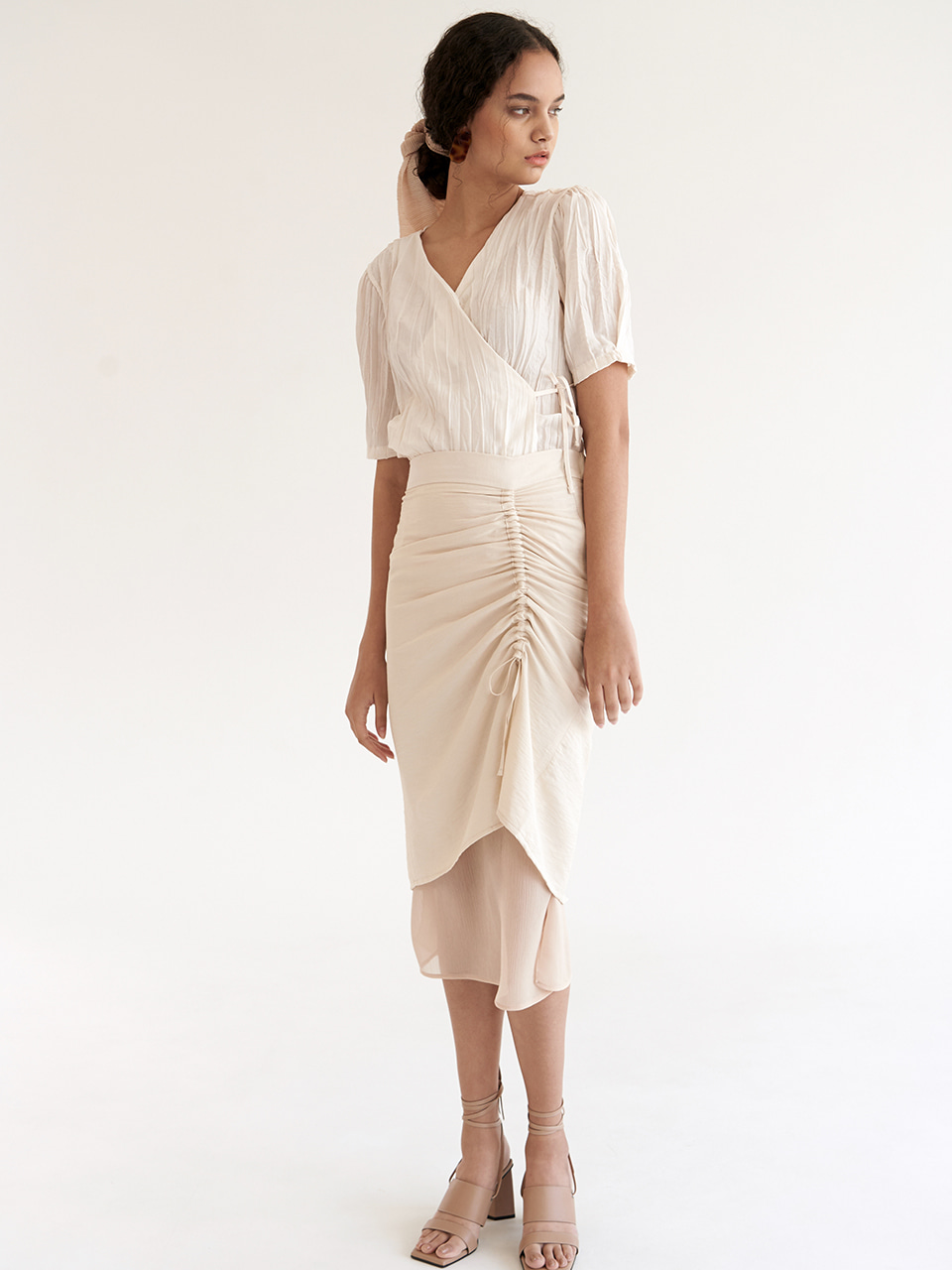Side Shirring Skirt - Beige
