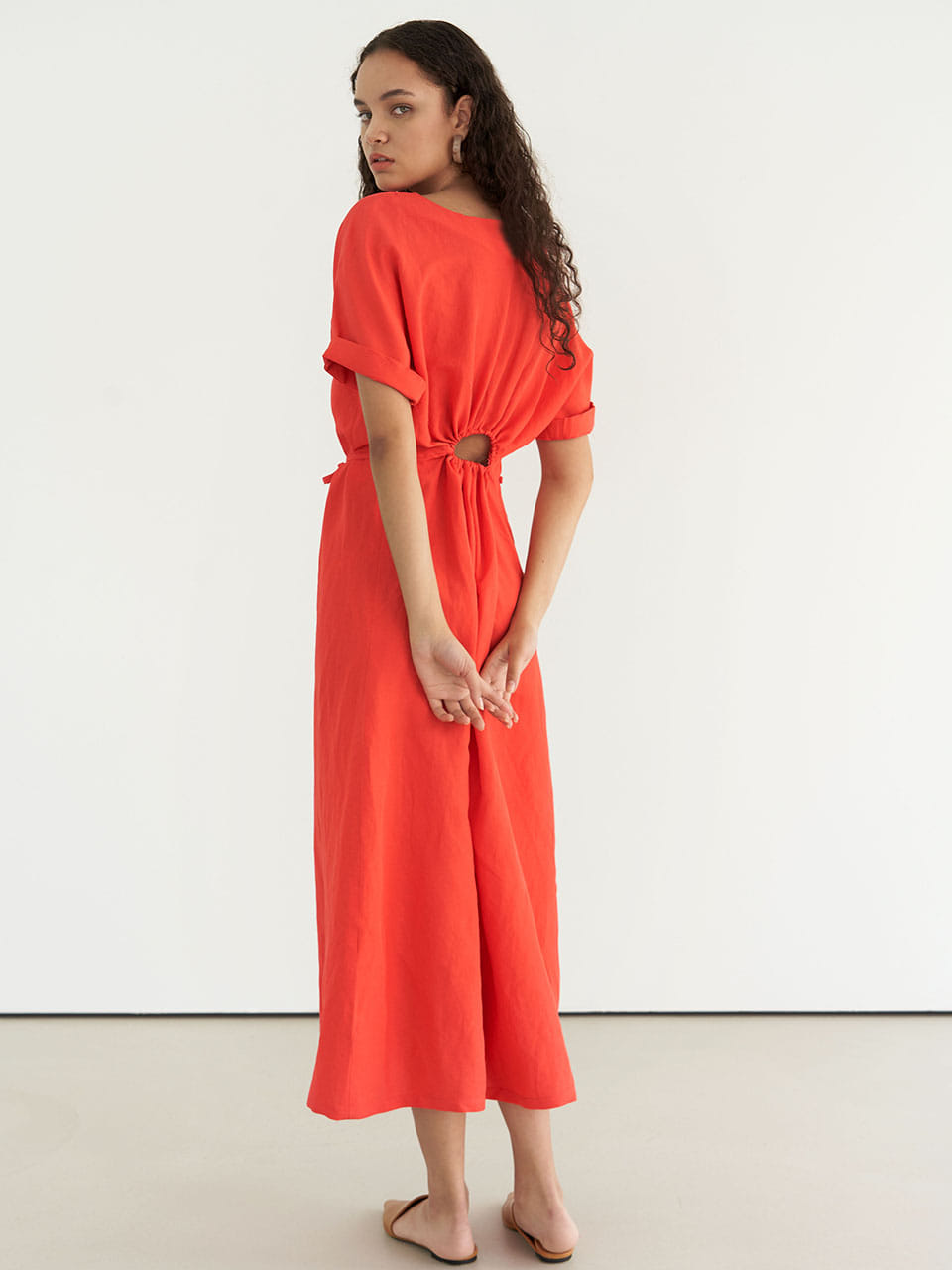 Linen Shirring Dress - Red