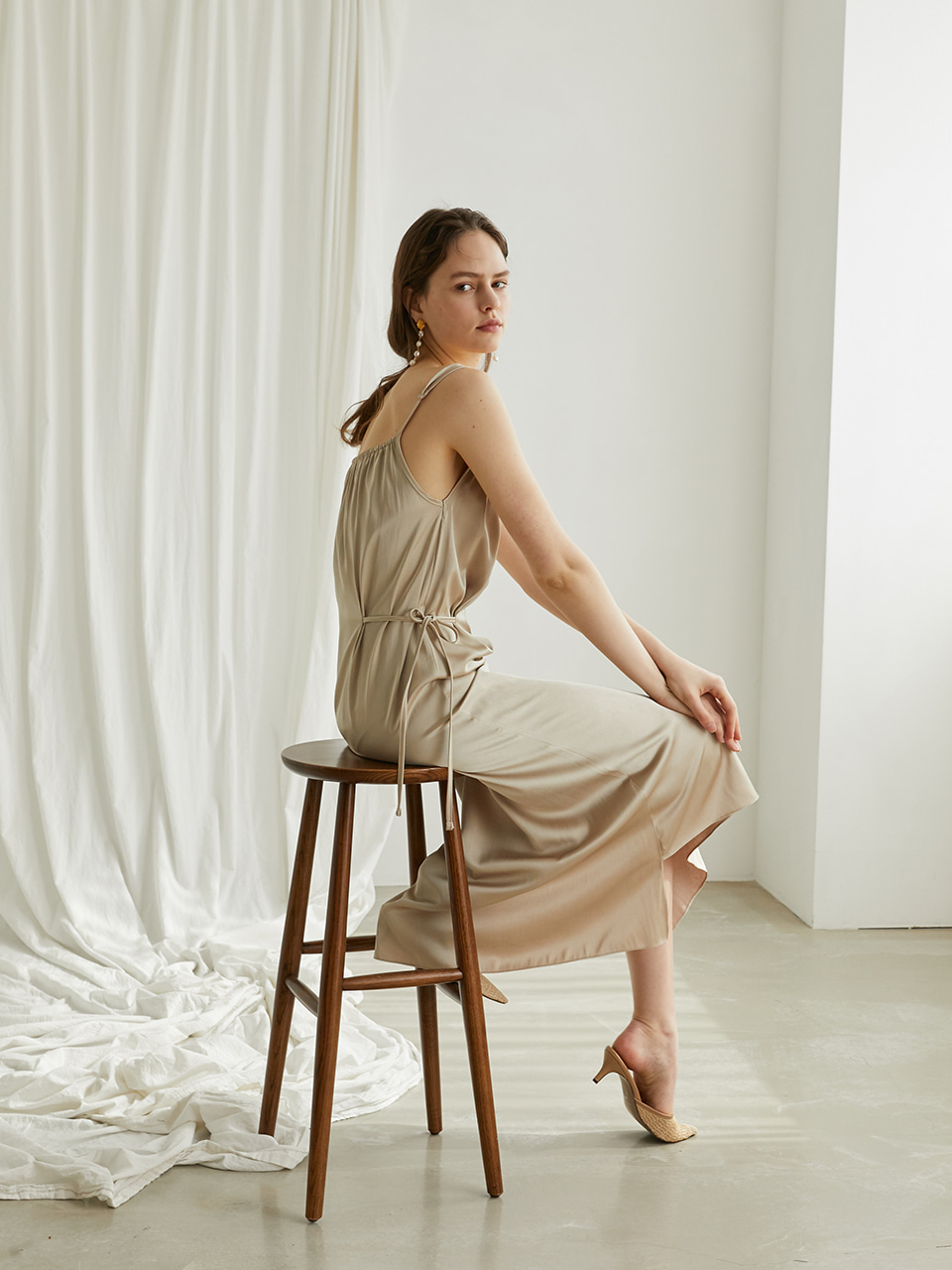 Glam slip dress - Gold beige