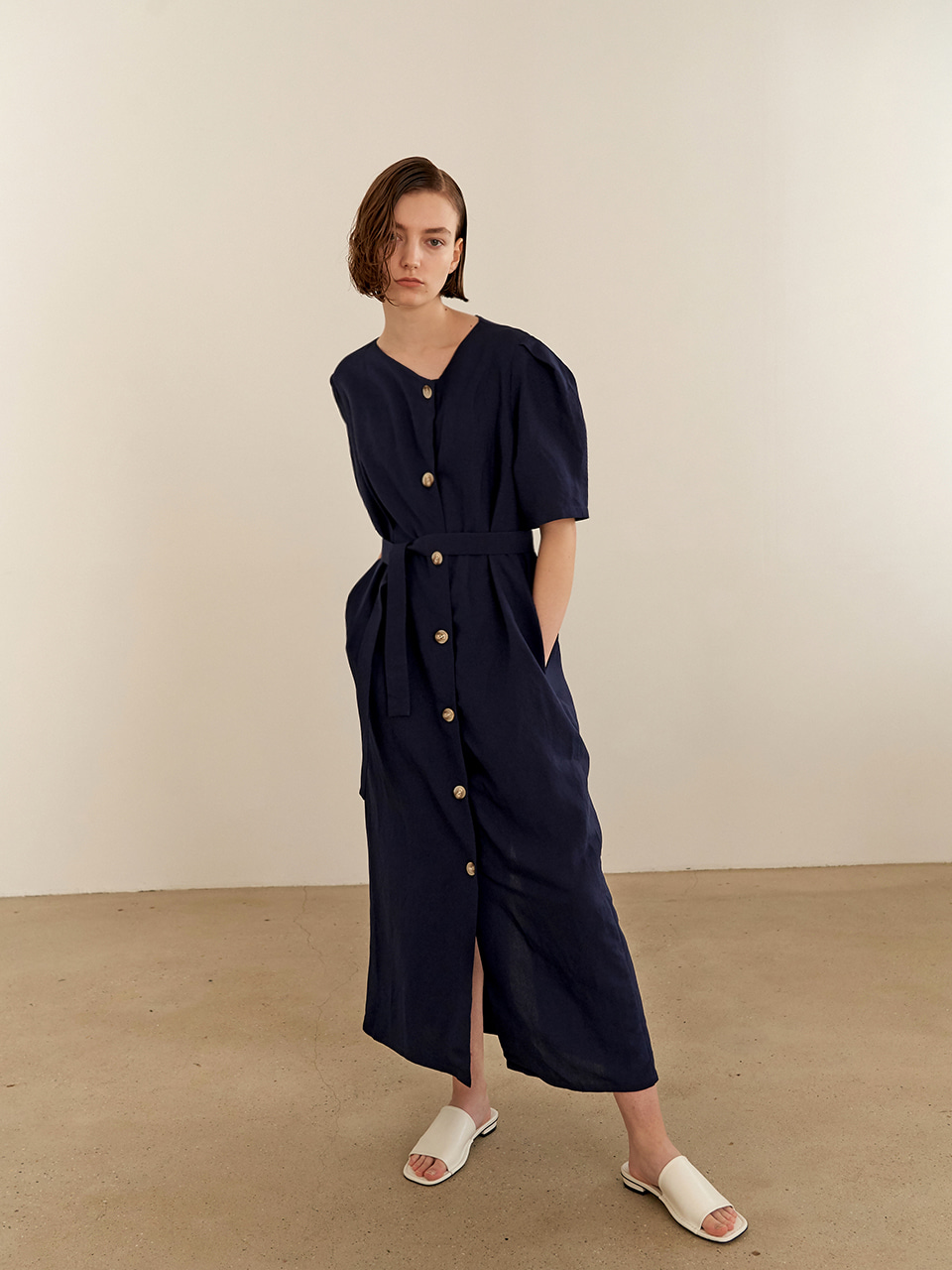 Twist Linen Dress-navy